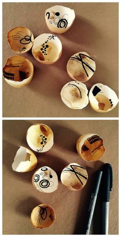 #Art, #Easter, #Recycled, #Tea Markers on tea-stained egg shell shards.