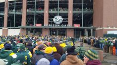 Just a few fans waiting to cheer on America's team, the Green Bay Packers