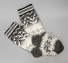 socks women wool white grey pattern folklore by helgihandicraft, $60.00