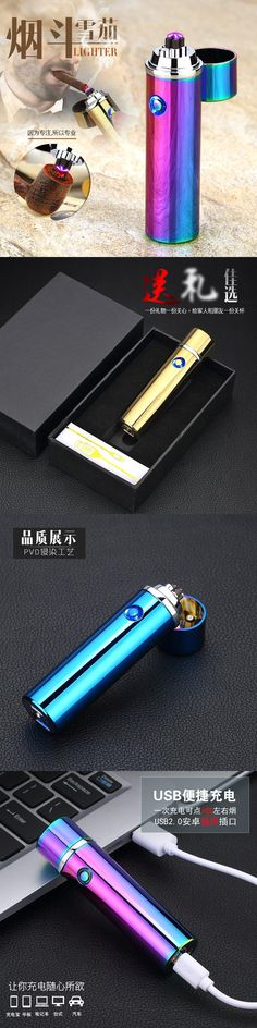New double arc cigar lighter cigarette Usb Charging Electric Plasma Eletronic Windproof Lighters for Smoker  Smoking Pipe HY-108