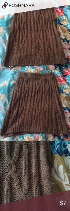 Story of Lola Taupe Brown Sweater Knit Skirt 🌈🦄I LOVE OFFERS!!! Please make me one! 🌈🦄  This super cute, super thick knit sweater bodycon skirt is perfect for winter and sure to keep you warm! Features two partial side zips. This is a light taupeish brown. LF Skirts