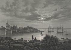 Larvik, Vestfold county, Norway Johan Christian (J. Johan Christian Dahl, Romanticism, Landscape Paintings, Norway, Scandinavian, Artist, Sweden, Boat