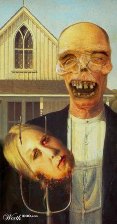 american-gothic. Halloween themed parody