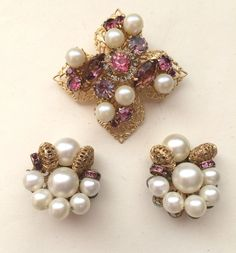 Vintage Pinks Purple Rhinestone Faux Pearl Filigree Brooch Earring  Lot #Unbranded