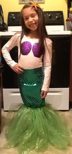 Little Mermaid- Diy pencil skirt, no sew glittered tutu.