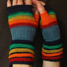 Rainbow Fingerless Gloves For Summer! Unmatched Hand Knit Mittens with upcycled linen, cotton and viscose.