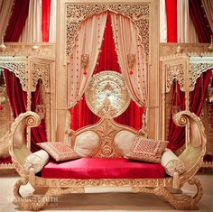 im so picky with indoor stages, but finally something that i kind of like red gold wedding stage Arab Wedding, Wedding Mandap, Desi Wedding, Gold Wedding, Wedding Table, Designer Couch, Wedding Stage Decorations, Decoration Inspiration, Decor Ideas