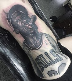 michael jordan portrait tattoo by Steve Butcher : Tattoos Basketball Tattoos, Basketball Art, Michael Jordan Tattoo, Sport Tattoos, Gangsta Tattoos, Military Tattoos, Leg Sleeves, Tattoo Designs, Tattoo Ideas