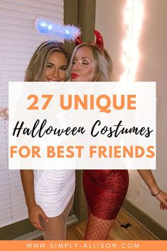 You and your best friend are going to love these cute halloween costumes for friends of 2 or of 3.  If you want something funny or Disney related I promise you and your friend will love some of these unique halloween costume ideas to try this halloween.  #halloween #halloweencostumeideas #halloweencostumes Creative College Halloween Costumes, Best Group Halloween Costumes, Halloween Halloween, Pun Costumes, Costume Ideas, Best Friend Costumes, Bestfriends, Besties, Disney