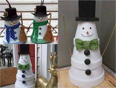 Schneemann Figuren aus weiß lackierten Tontöpfen selber machen