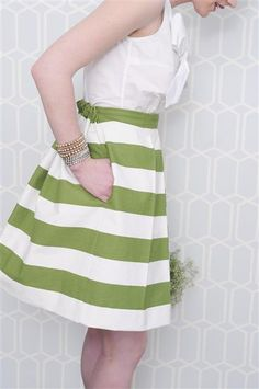 Kelly green striped skirt.