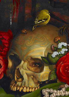 I love Stephanie Henderson's remarkably vibrant take on classic Vanitas still life paintings. Damien Hirst, Vanitas, Basquiat, Skull Illustration, Danse Macabre, Mc Escher, 6 Photos, Skull And Bones, Memento Mori