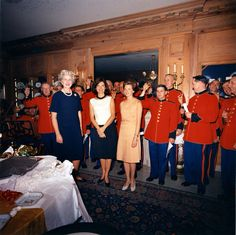 First Lady Jackie with the US Marine Band at a farewell party for social secretary Letita Baldrige May 29th 1963