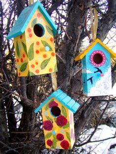 Lindy Gaskill paints colorful, whimsical art of birds, trees, and yoga motifs that bring joy and gladness to your home or office. Decorative Bird Houses, Bird Houses Painted, Painted Birdhouses, Bird House Feeder, Bird Feeders, Birdhouse Craft, Birdhouse Ideas, Bird Boxes, Colorful Paintings