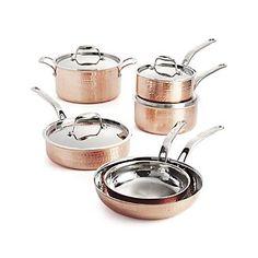 Lagostina Martellata Hammered Copper 10-Piece Cookware Set
