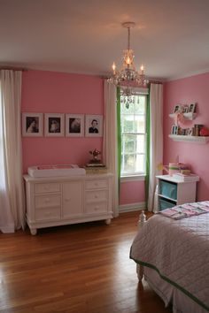 Pink nursery with pop of green {See more nursery ideas at projectnursery.com!}