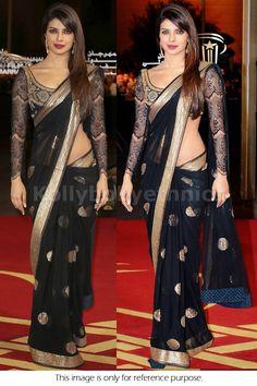 Priyanka Chopra Black Net Party Wear Saree with borders Bollywood Stars, Bollywood Fashion, Bollywood Designer Sarees, Saree Fashion, Versace Fashion, Indian Bollywood, Fashion Outfits, Indian Attire, Indian Wear