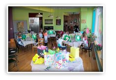 children's parties: will provide: an artist with teaching experience, all paint supplies, 11x14 pre-stretched canvas, ribbons, rhinestones, other accoutrements to embellish artwork.  Rec for children 5 and up. min of 10 - in-studio is 2 hours (1 hour painting party & 1 hour food, cake and presents) $30 per child min of 10 students.   off site events start at $25 per child for 1 hour painting party.