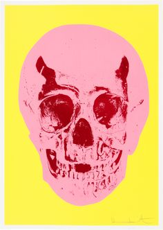 Damien Hirst – 'Till Death Do Us Part — Heaven Lemon Yellow Pigment Pink Chilli Red Pop Skull' — Silkscreen, glaze and foilblock