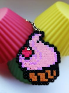 cupcake keychain hama beads by Crafty and Contrary