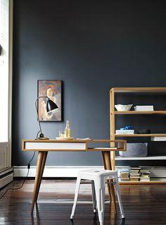Celine Desk with bright turquoise Tolix Marais stool
