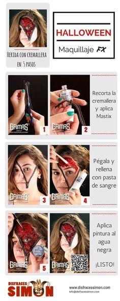 Tutorial Maquillaje Paso a Paso. Herida sangrante con cremallera en 5 Pasos. #Halloween #Makeup #FX #Grimas #DermaWax