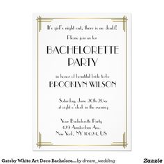 Gatsby White Art Deco Bachelorette Party Invite