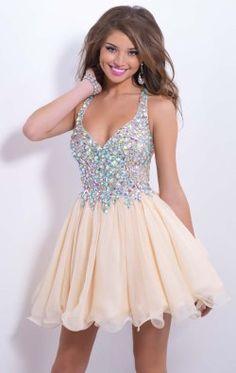 Embellished V Neckline Dress by Blush by Alexia 9857