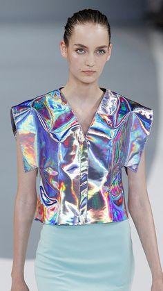 c739ab025411 Hugo by Hugo Boss S/S 2013 Holographic Fashion, Iridescent Fashion,  Holographic Fabric
