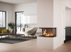 Find your new fireplace in a beautiful design that creates a warm centrepiece in your home. Get Scandinavian quality with a fireplace insert - RAIS House Design, House, Interior, Home, Home Fireplace, House Interior, Interior Design, Fireplace, Fireplace Inserts