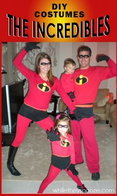 While They Snooze: How to Make The Incredibles Halloween Costumes + Costume Contest Meyers Schaab Schriner The Incredibles Halloween Costume, Halloween Costume Contest, Family Halloween Costumes, Couple Halloween, Halloween Diy, Pixar Costume, Cartoon Costumes, Group Halloween, Halloween Halloween