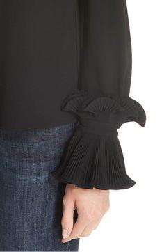 Co Essentials Ruffle Cuff Blouse Kurti Sleeves Design, Sleeves Designs For Dresses, Sleeve Designs, Modest Fashion, Hijab Fashion, Fashion Dresses, Blouse Styles, Blouse Designs, Sewing Sleeves