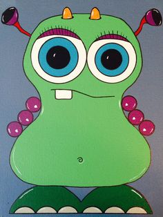 Colorful, Fun, Acrylic, Handmade, Painting, Outer Space, Space, Monsters, Aliens, Rocket, Creative, Kids, Kid Room, Cute, Canvas, Art, Silly on Etsy, $40.00