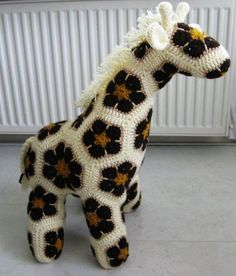 Homemade Crochet African Flower Giraffe Free Pattern - Crochet Craft, Crochet Animal, Crochet Giraffe - LoveItSoMuch.com