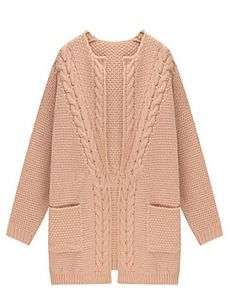 Pink Loose Knit Cardigan With Long Sleeve