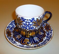 Early 1900s Cobalt Gold w Stylized Florals LRG Coalport China Teacup w Saucer