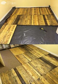 Here's how we made a Removable Pallet Kitchen Floor