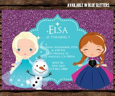 This is listing is for a Disney Frozen Invitation - Digital copy only Please choose if blue or purple glitters. You'll be receiving a jpeg in Please leave your choice at checkout. HOW IT WO Disney Frozen Invitations, Frozen Birthday Invitations, Print Your Own Invitations, Disney Frozen Birthday, Frozen Party, Party Invitations, Invite, Frozen Backdrop, Sesame Street Invitations