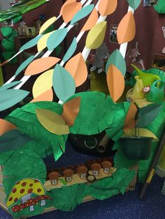 Percy the park keepers role play area. I like the leaves to make a den like quality Gruffalo Eyfs, The Gruffalo, Ks1 Classroom, Year 1 Classroom, Percy The Park Keeper, Story Sack, Reception Class, Mini Beasts, Role Play Areas