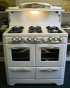 Isn't this cute?!! Sort of retro looking (like the fridge is). Gas! six burners - divided enough that you can cook at least three large pots of stuff at the same time (you can't when the burners are touching one another). Double ovens. Double broilers. WONDERFUL! http://www.antiquegasstoves.com/pages/tappan2.html