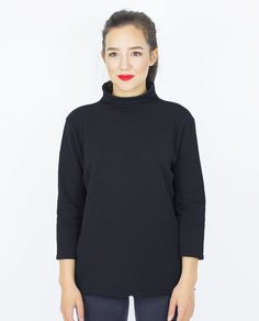 CHIMNEY COLLAR BLACK SWEATER Black Sweaters, Knitwear, Turtle Neck, Products, Fashion, Moda, Tricot, Fashion Styles, Stricken