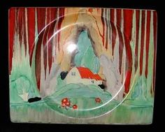 """Large plate in the Forest Glen pattern and Biaritz shape.  Signed """"Bizarre by Clarice Cliff""""."""