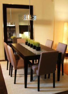 Contemporary Home Design: Fascinating Mirror Centerpieces In The ...  Dinning Room CenterpiecesDining Room Table Runner IdeasModern Dinning  TableCenterpiece ...