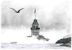 karakalem manzara kız kulesi -