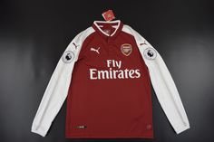 [JOE] Adult Arsenal Home Red Long Sleeved Jersey Fans Version,with Premier league Patch Arsenal Jersey, Premier League, Motorcycle Jacket, Fans, Long Sleeve, Red, Jackets, Shopping, Fashion