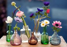 ooooh multi-coloured glass bud vases and the prettiest summer blooms - we heart @informalflorist so much