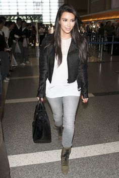 Kim Kardashian wearing Hermes So Black Birkin 35 bag Giuseppe Zanotti for Balmain Lace-Up Studded Booties Black Orchid Jewel Skinny Jean in Ice