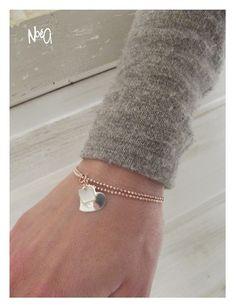 Bracelet en Argent 925 Rose avec pendentif nacre et coeur - créateur 3