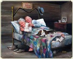 (Schilderij Marius van Dokkum) Zo samen oud worden.....lekker tegen elkaar aan en een hond en een kat.... zalig....