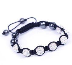 Colorful White Rhinestone Crystal Clay Disco Ball Beaded Charm Bracelet Bangle